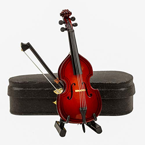 "Seawoo Wooden Miniature Double Bass with Stand,Bow and Case Mini Contrabass Replica Mini Musical Instrument Collectible Miniature Dollhouse Model Home Decoration (3.94""x1.51""x0.91"")"