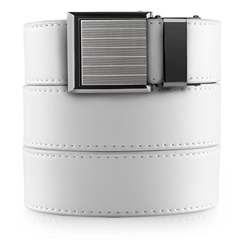 - SlideBelts Womens Classic Ratchet Belt - White Leather with Pinstripe Buckle (Vegan)