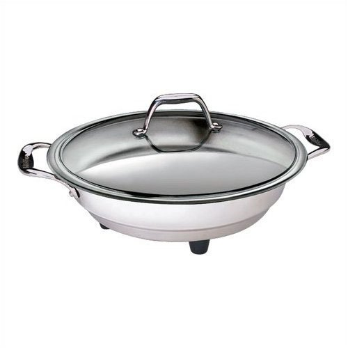 Electric Skillet By Cucina Pro - 18/10 Stainless Steel with Tempered Glass Lid, 12'' Round