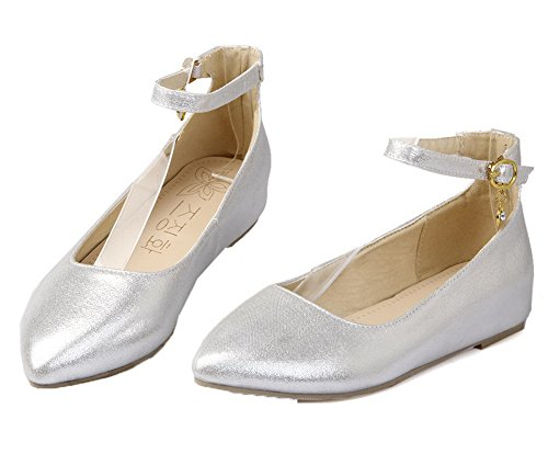 Toe Buckle Heels Pumps WeenFashion Blend Materials Shoes Silver Pointed Women's Low wtZqF0