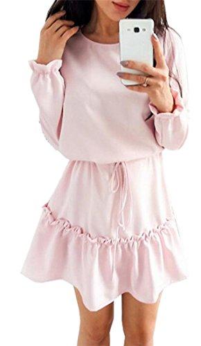 Jaycargogo Encolure Ras Du Cou Mode Ajustement Lâche Des Femmes Acceptent Des Robes À Manches Longues Couleur Unie Taille Rose