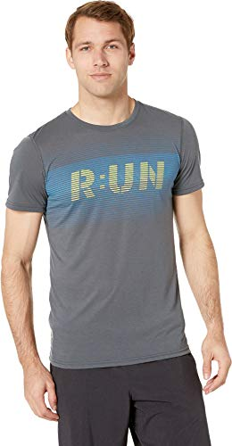 Brooks Men's Distance Graphic T-Shirt Heather Asphalt/Digital Run Large (Shirts Running Brooks)