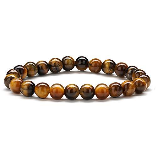 Hidepoo Tiger Eye Bracelet Bangle Gifts - 8mm Natural Stone Tiger Eye Stone Bead Bracelet, Men Women Stress Relief Yoga Beads Stone Bracelet -
