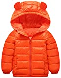 Wofupowga Boy Hoody Zip Quilted Fashion Lightweight Down Jacket Parka Coat Orange 5T