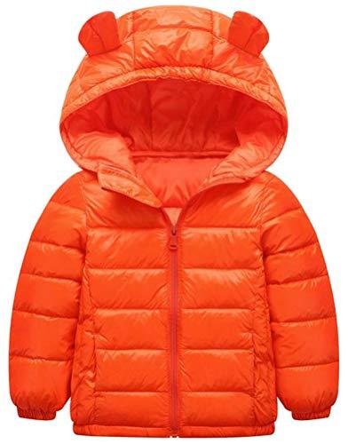 Wofupowga Boy Hoody Zip Quilted Fashion Lightweight Down Jacket Parka Coat Orange 5T by Wofupowga