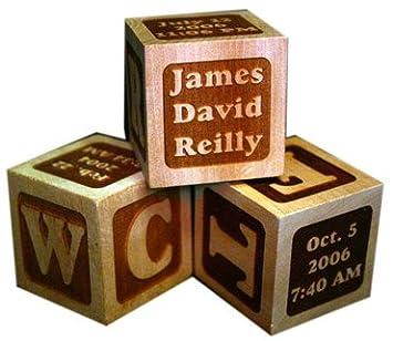 Amazoncom Personalized Wooden Blocks Set Of 3 Birth