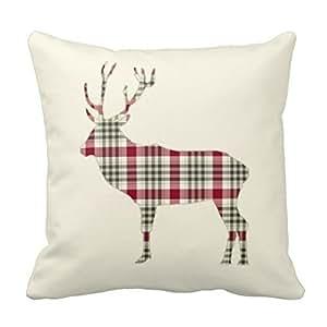 Generic Cotton 18 X 18 Winter Tartan Plaid Deer Pillow