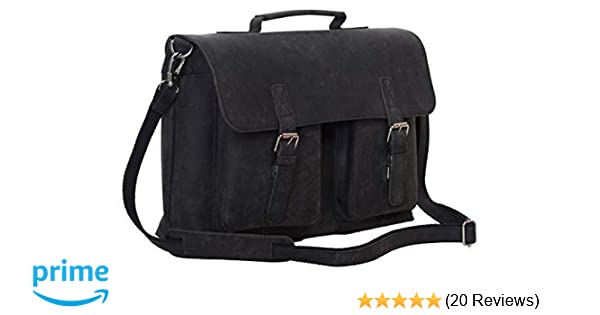 ea0b5721bea Amazon.com  KomalC 15 Inch Black Retro Buffalo Hunter Leather Laptop Messenger  Bag Fits Upto 15.6 Inch Laptop Office Briefcase College Bag  Computers   ...