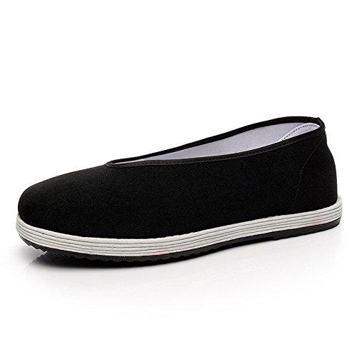 LvYuan Zapatos tradicionales chinos del paño de los hombres / zapatos redondos respirables retros ocasionales de la boca / Kung Fu / artes marciales / zapatos de la ji del Tai / zapatos hechos a mano  Black