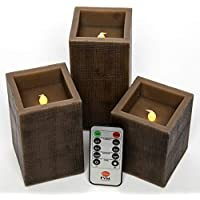FVM Candles 3-Set of Brown Square Flameless Candles