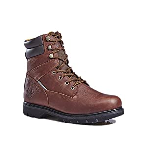 KS Men's 1312-2 Brown Leather Rubber Sole Soft Toe Work Boots 9.5 M US