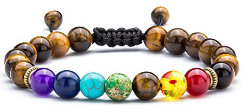 Hamoery Men Women 8mm Lava Rock Chakra Beads Bracelet Braided Rope Natural Stone Yoga Bracelet Bangle(Tiger Eye)