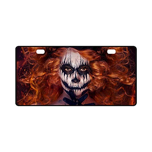InterestPrint Queen of Death Scary Body Art Halloween Theme Automotive Metal License Plates Decor Decoration, Car Tag for Woman Man - 11.8 x 6.1 Inch