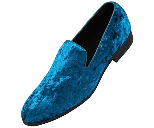 (Amali Mens Crushed Velvet Smoking Slipper Nightclub Loafer, Slip On Formal Dress Shoe Turquiose)