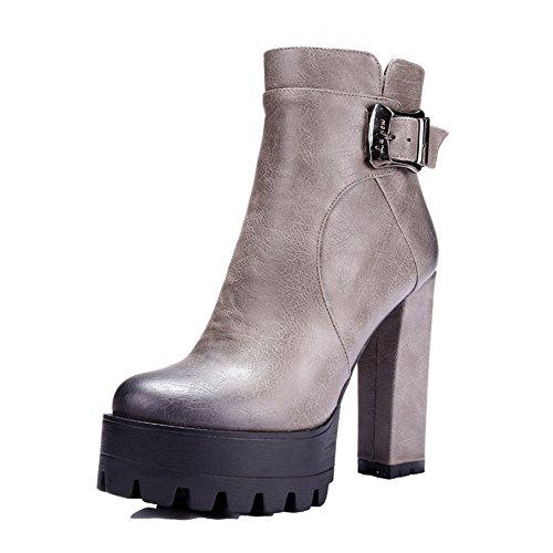 COOLCEPT Damen Blockabsatz Knoechel Plateau Schuhe für die Datierung Martin Stiefel Grau