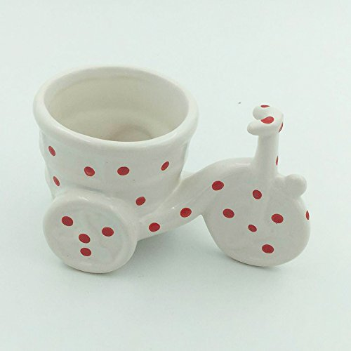 Better-way Mini Ceramic Bicycle Plant Stands Flower Pot Holder Orchid Plant Planter Succulent Cactus Container(Red And White) (Orchid Plant Stand)
