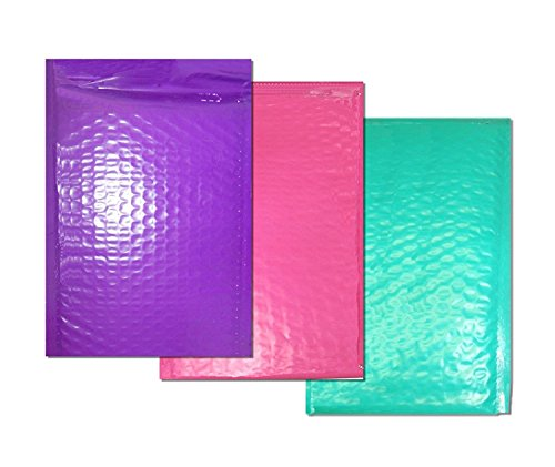 Assorted Bubble - Beauticom Assorted PURPLE, PINK, & TEAL (30 Pieces) #0, 6x10 Self-Seal Poly Bubble Mailer 6.25