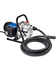 FLUENTPOWER 1 HP Portable Stainless Steel Sprinkling Pump, Water Transfer Pump, Shallow Well Pump for Home Garden Lawn Irrigation and Pressure Booster, 23FT Intake Hose with check valve included