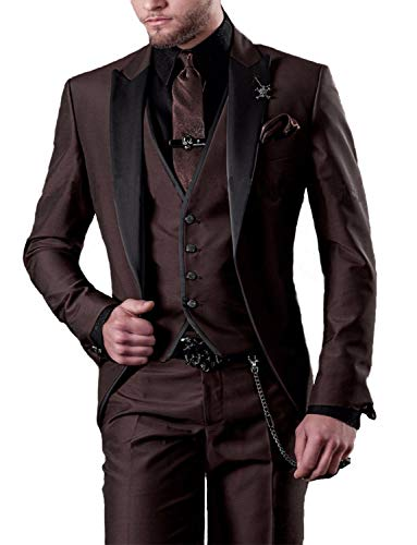 Mens 3 Piece Suit Slim Fit Brown Sale Party Ball Dress Suit and Pants for Teens New Year Party ()