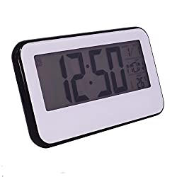 Slash Multifunction Sensor Light Sound Control LCD backlight alarm clock with timer, world time, temperature and snooze function (Black Case) S10099