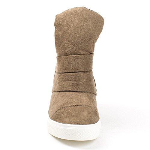 Ideal Shoes Baskets Montantes Semi-Compensées Vanite Taupe KM60X