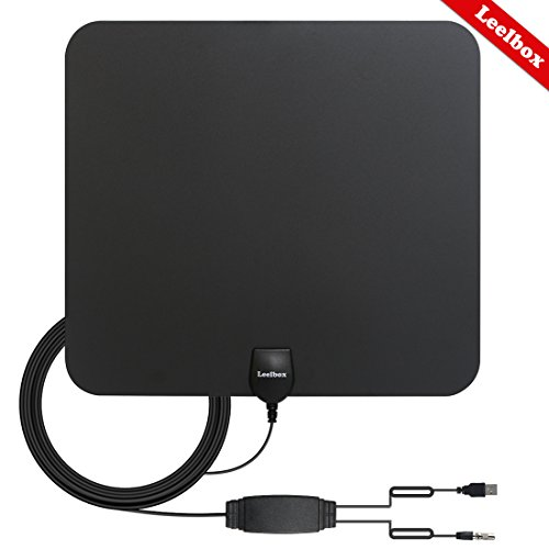 Leelbox HDTV Antenna 60 Miles Range Digital 4K/Full HD/Indoor Antenna Detachable Amplifier Signal Booster 16.5ft High Performance Coax Cable Free TV Programme (Black) by Leelbox