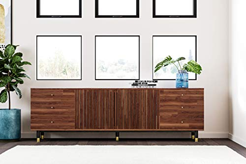 The Vine Square Modern Wood TV Stand, May | 6 Drawers and Cabinet with Shelves, Rectangular Mid Century Media Stand 79…