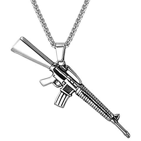 M16 Rifle Shape Pendant & Necklace Stainless Steel Rock Army Style Cool Men Jewelry (Necklace For Men Cool)