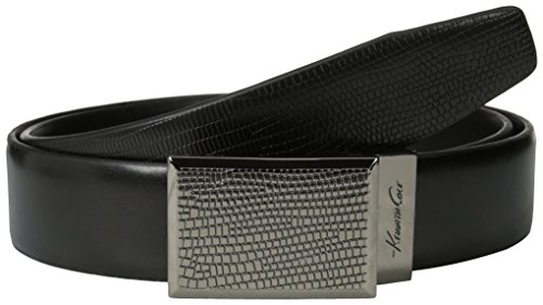 Kenneth Cole Men's Dress Reversible Belt with Reptile Textured Plaque Buckle (Reptile Buckle Belt)