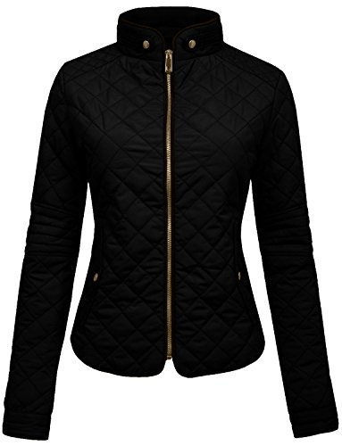 NE PEOPLE Womens Lightweight Quilted Zip Jacket, Large, NEWJ22BLACK by NE PEOPLE