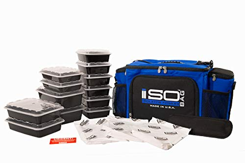 Isolator Fitness 6 Meal ISOBAG Meal Prep Management Insulated Lunch Bag Cooler with 12 Stackable Meal Prep Containers, 3 ISOBRICKS, and Shoulder Strap - MADE IN USA (Blue/Black Accent)