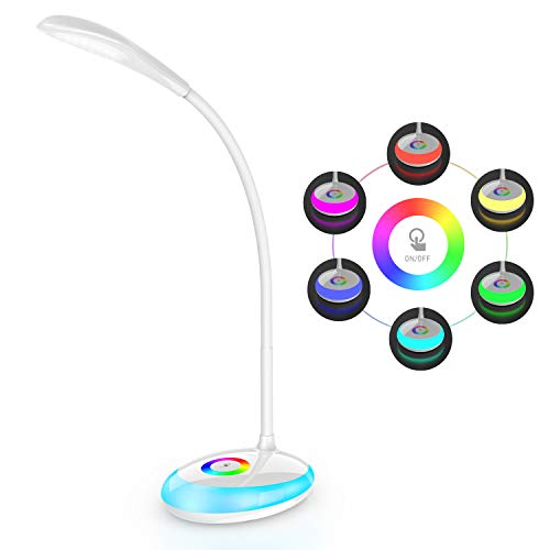 LED Desk Lamp for Kids, VOGEK Eye-Caring Table Light with Night Light, 3 Brightness Levels, Built-in Rechargeable Battery, Touch Control Study Desk Light for Boys and Girls (256 Color Available)