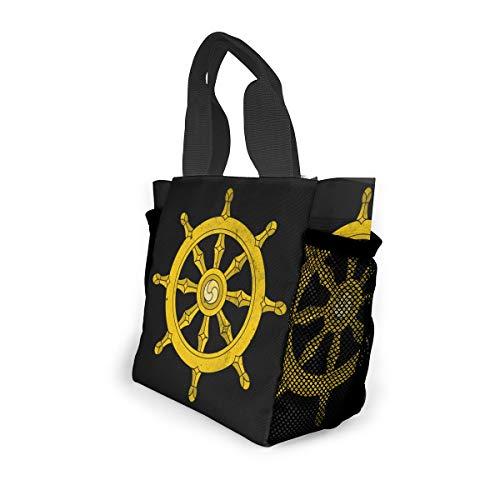 FKAHQ Dharma Wheel Unisex 8x8x4.6Inch Shopping Bag Suitable Office/School/Picnic/Travel/Camping Small Handbag ()