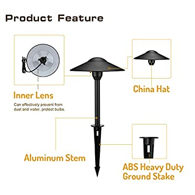 Lumina Low Voltage Landscape Lighting Cast-Aluminum Outdoor Path and Area Light Warm White 3W G4 LED Bulb and ABS Heavy Duty Ground Stake Included for Yard Walkway Lawn - Black PAL0101-BKLED2 (2PK) : Garden & Outdoor