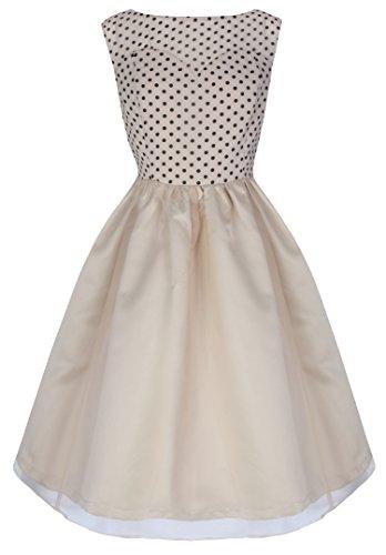 Lindy Bop 'Violetta' Delightfully Adorable 50's Inspired Polka Swing Dress (3XL, Cream)