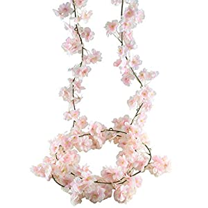 XYXCMOR Artificial Vines Silk Cherry Blossom Garland Fuax Hanging Flowers Fake Wreath for Indoor Outdoor Wedding Arch Party Wall Garden Home Patio Decorations 2pcs 5.9Ft Pink 78