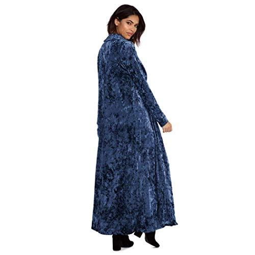 Cardigan Invierno Parkas Solapa Larga Abrigos Blau Mujer Otoño Básicos Sólido Elegante Adelina Terciopelo Ropa Color De Manga Largos Casual Abrigo 4tUOwdx