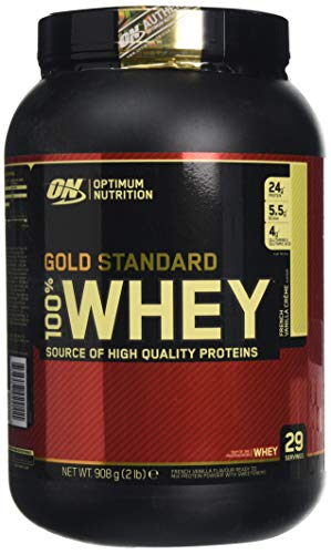 Optimum Nutrition Gold Standard Whey Protein Powder with Glutamine and Amino Acids Protein Shake - French Vanilla Cream, 29 Servings, 908 g (Packaging May Vary)