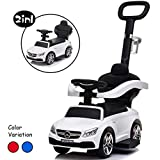 Little Brown Box 3 in 1 Licensed Mercedes Benz AMG Kids Ride on Push Car for Toddler, Baby Push Car W/ Parent Handle, Storage, Armrest Guardrail, Music & Horn, Kids Indoor/Outdoor Car Stroller (White)