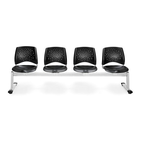 OFM 324-P-BLK Stars 4-Unit Beam Seating with 4 Plastic Seats
