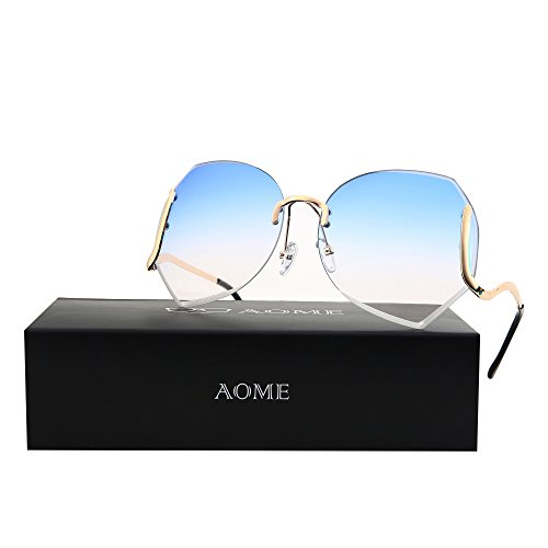 AOME Oversized Rimless Sunglasses,Vintage Gradient Cutting Clear Lens Eyeglasses (Gold&Blue, - Sunglasses Clear Rimless