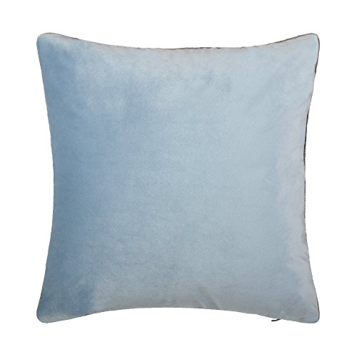 (KingRose Solid Velvet Luxuriours Smooth Decorative Throw Pillowcase Cushion Cover for Sofa Couch Chair 16 x 16 Inches Light Blue)