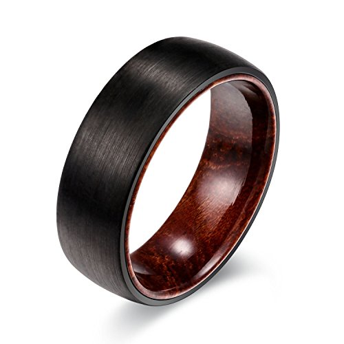 POYA 8mm Black Tungsten Ring Matte Finish Dome Edges Solid Wood Sleeve Wedding Engagement Band