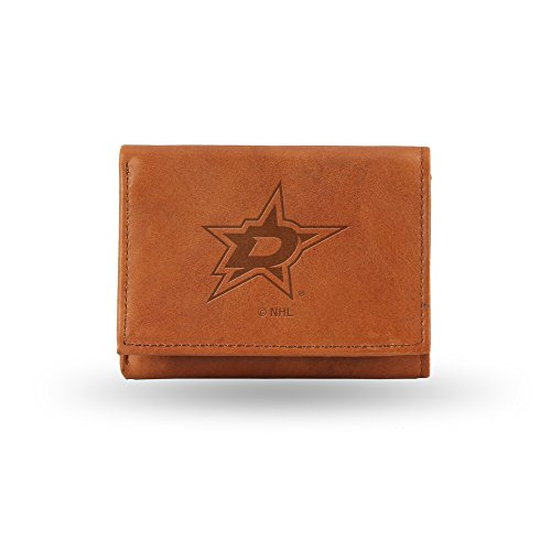 Rico Industries NHL Dallas Stars Embossed Leather Trifold Wallet, Tan