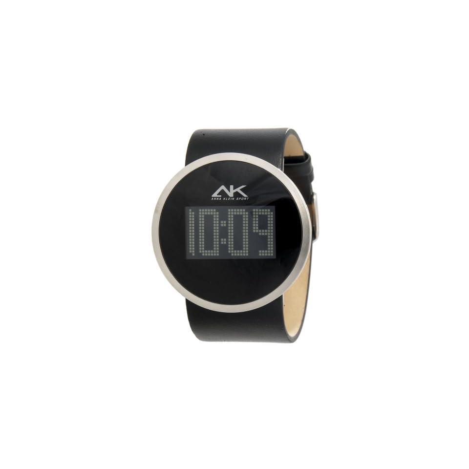 Anne Klein Womens 108927BKBK Silver Tone Digital Black Leather Watch