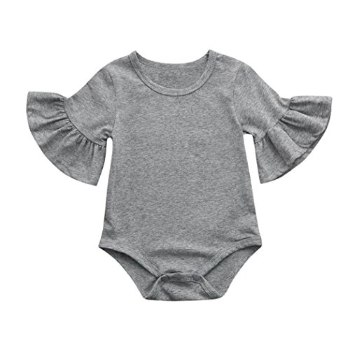 0-24 Months Newborn Infant Baby Girls Romper, Ruffles Bell Sleeve Solid Jumpsuit Playsuit Sleepwear Clothes Outfits (Gray, 6-12 Months)