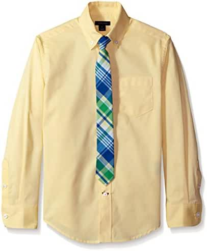 Tommy Hilfiger Big Boys' Long Sleeve Oxford Shirt with Tie