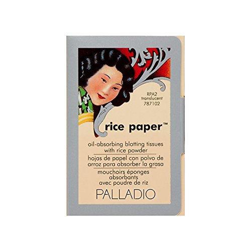 Palladio Rice Paper Tissues, Translucent, Face Blotting Sheets with Natural Rice Powder, 40 Count, Pack of 1