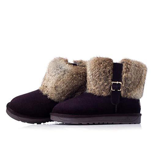 Warm Warm Warm Casual Stivali Plus Velluto in Stivali Stivali Stivali da Pelle Chocolate Corti Donna da Neve in nqIIzxwf18