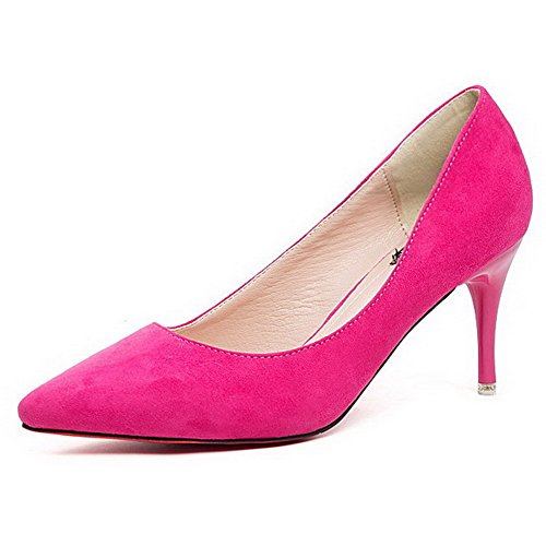 AalarDom Damen Ziehen Auf Spitz Zehe Stiletto Rein Pumps Schuhe, Rosa-Nubukleder, 37